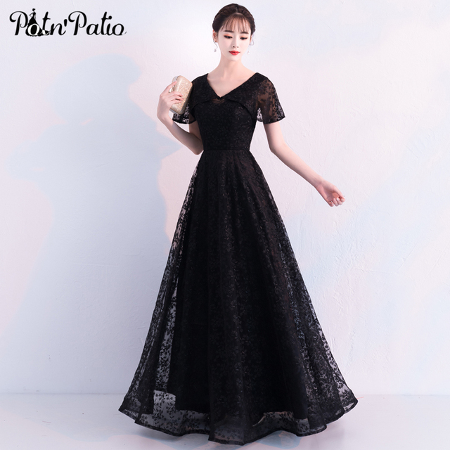c3bd0e073927 Elegant Black Tulle Evening Dress Sexy V-neck Short-Sleeve with Jacket Lace Long  Formal Party Dress Special Occasion Dresses