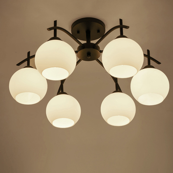 Потолочная лампа, 3 лампы, 5 ламп, 6 ламп, 8 ламп, простое освещение для гостиной, столовой, спальни, железное стекло, светодиодное освещение