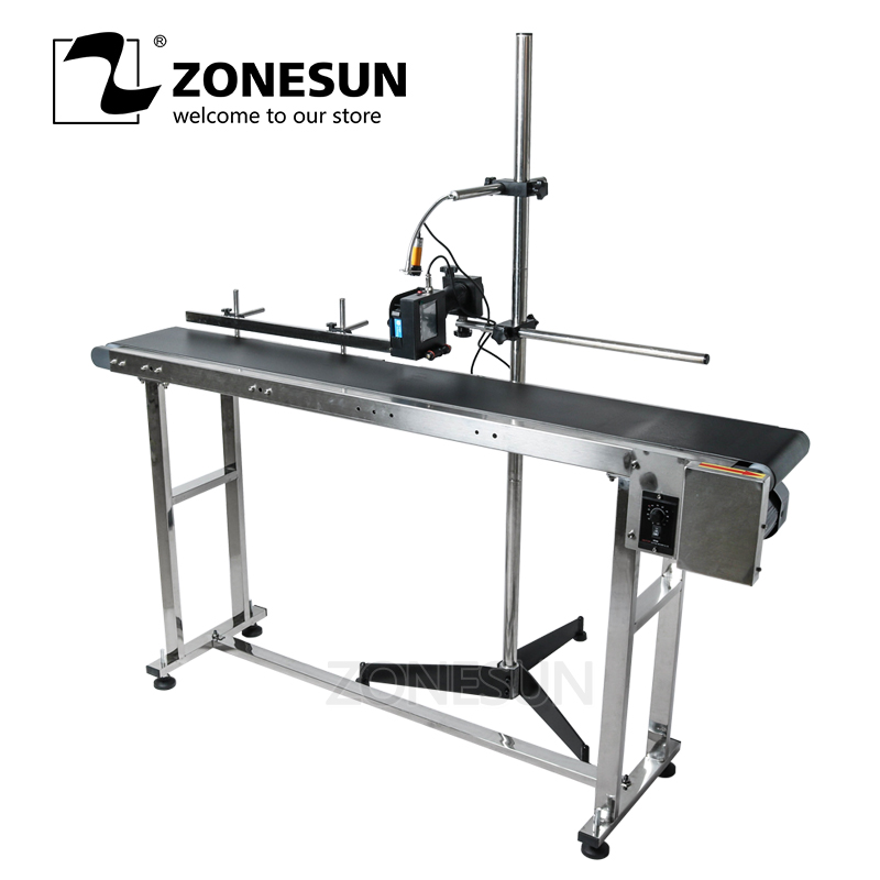 ZONESUN Inkjet Printer Conveyer Table Band Carrier Sorting Workbench PVC Belt Conveyor Bottle Box Printer Label Printer Conveyor