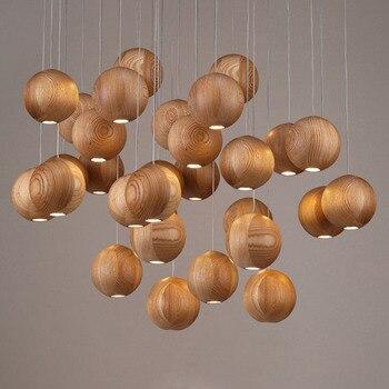 Nordic Spherical LED Solid Wood Pendant Light Wood Ball Suspension Lamp for Children's room Living Room Dinning luminaire PA0257