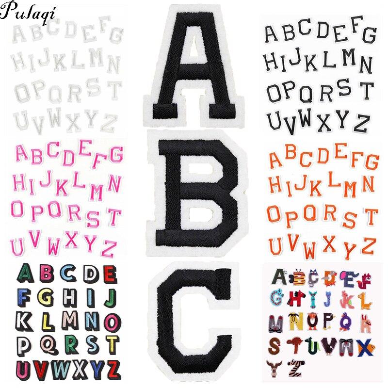Pulaqi vente en gros 26 lettres anglaises patchs ensemble coudre sur fer à repasser t-shirt autocollants fer à repasser sur rayures sur vêtements bricolage tissu autocollants H