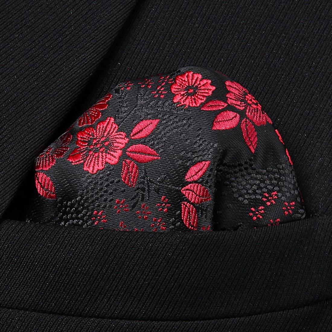 HF3001U Burgundy Black  Floral Men Silk Party Handkerchief Pocket Square Hanky