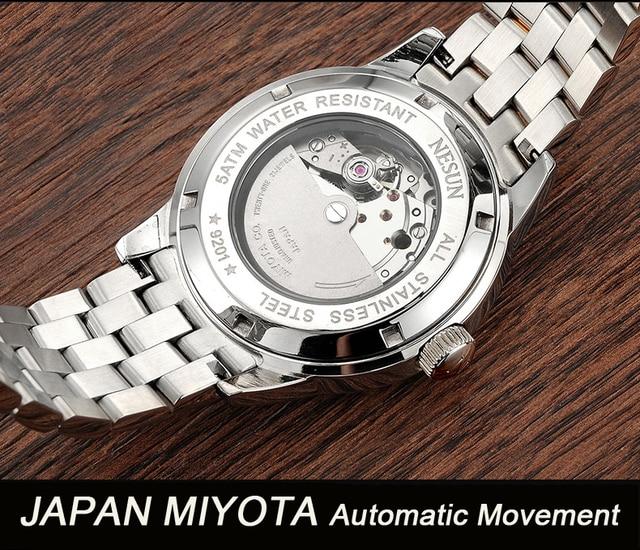 New Nesun Men's Watch Japan MIYOTA Automatic Mechanical Movement 5