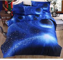 Popular Galaxy bedding sets 3d blue moon and stars Universe Outer Space Themed bedclothes duvet covers bed sheets queen