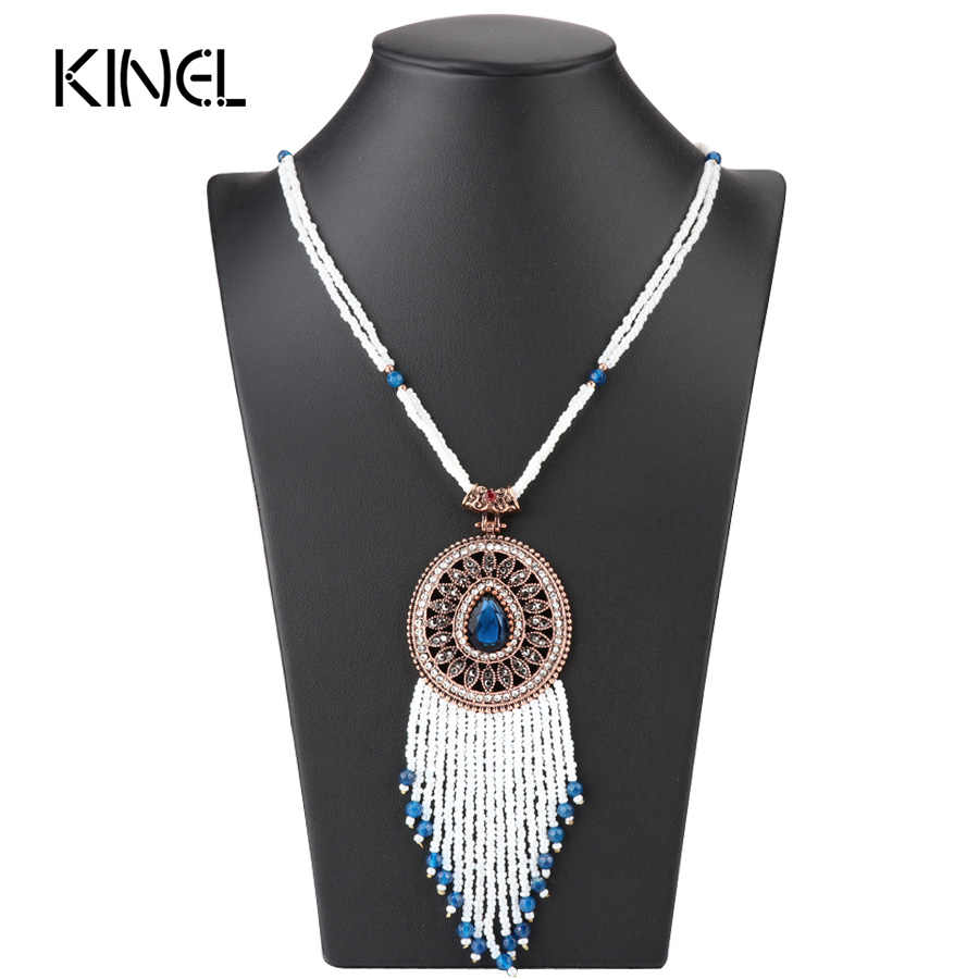 Kinel Bohemia Tassel Pendant Necklace For Women Hand-Beaded Antique Gold Crystal Long Necklace Vintage Wedding Jewerly 2017 New