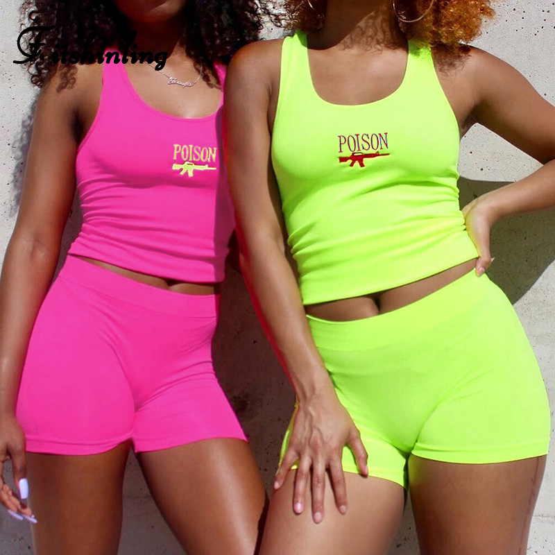 Fitshinling Embroidery Letter Biker Short Sets Neon Fluorescence Tanks Bottoms Women Two Piece Outfits Fitness Body Suits Sexy