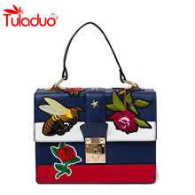 2017 Fashion National Embroidery Shoulder Bag Women Messenger Bag Floral Embroidered Handbags Ladies Small Lock Crossbody Bags