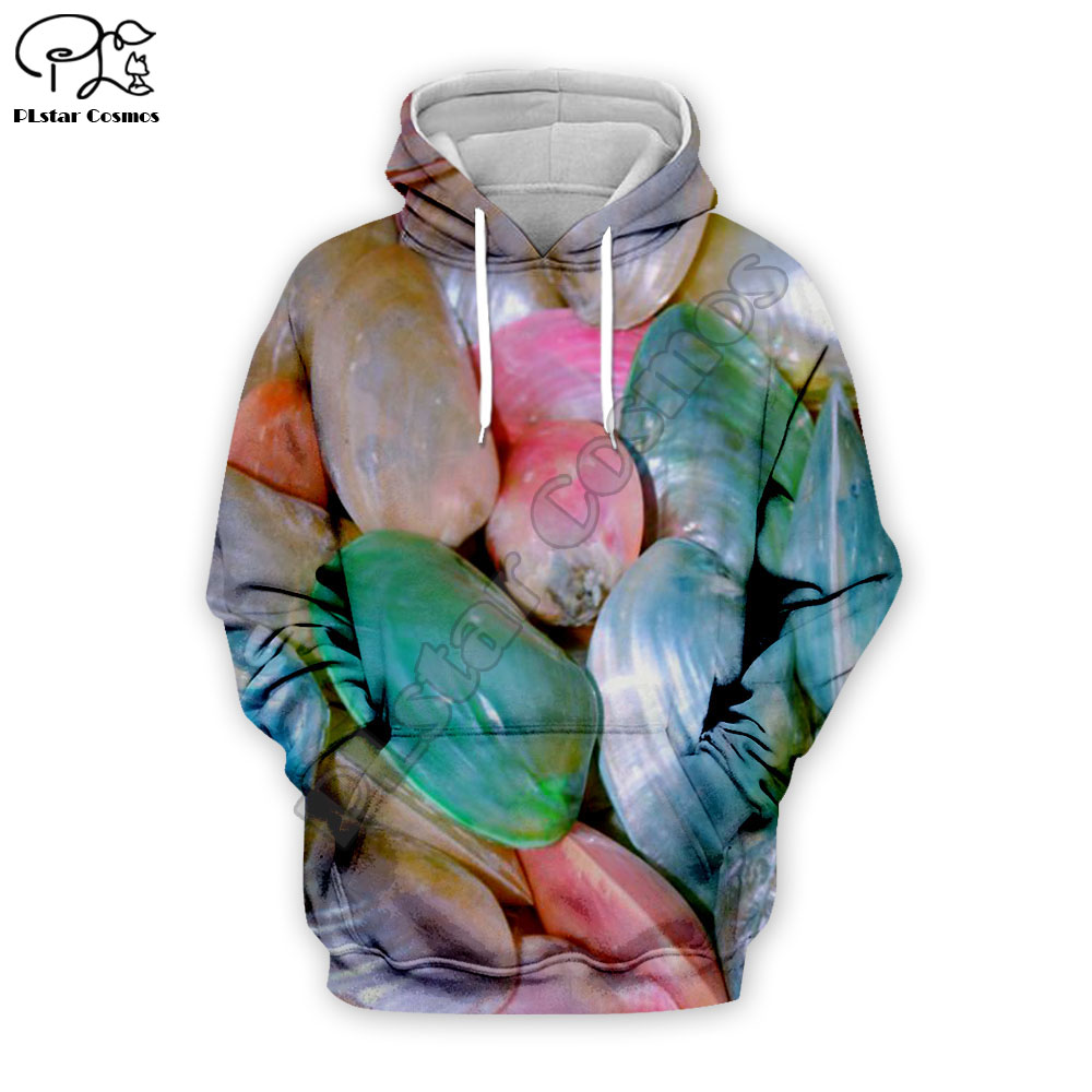 Womens Top shiny shell long sleeve Sweatshirt 3D print Hoodie Men casual Pullover Vacation Autumn Tracksuit zipper o neck Hooded