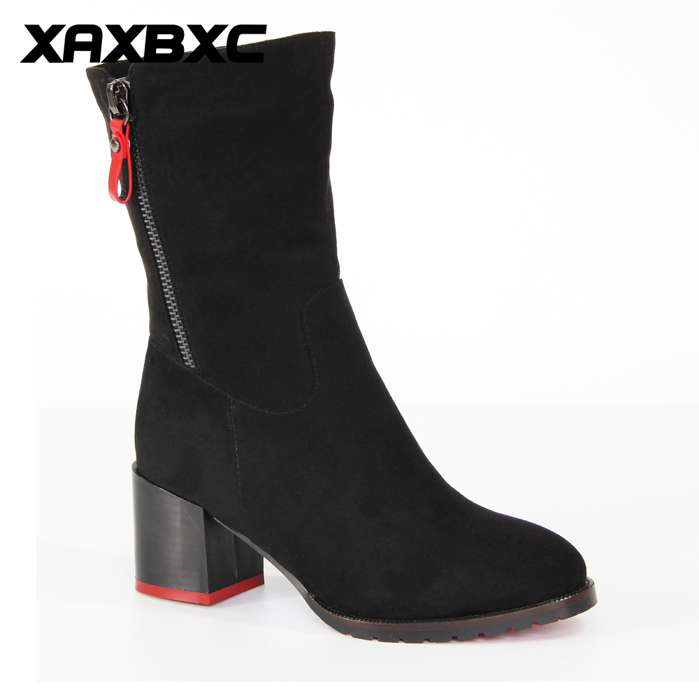 XAXBXC 2017 Retro British Winter Black Flock Zipper Thick Heel Short Ankle Boots Warm Women Boots Handmade Casual Lady Shoes martin new winter with thick british style short canister female fall side zipper boots
