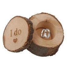 Vintage Love Heart I Do Letter Print Wooden Wedding Ring Bearer Box Jewelry Box
