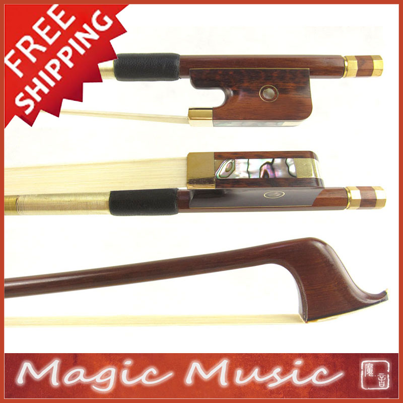 Free Shipping Gold Alloy Fitted PERNAMBUCO Cello Bow with Snakewood Frogs wholesale