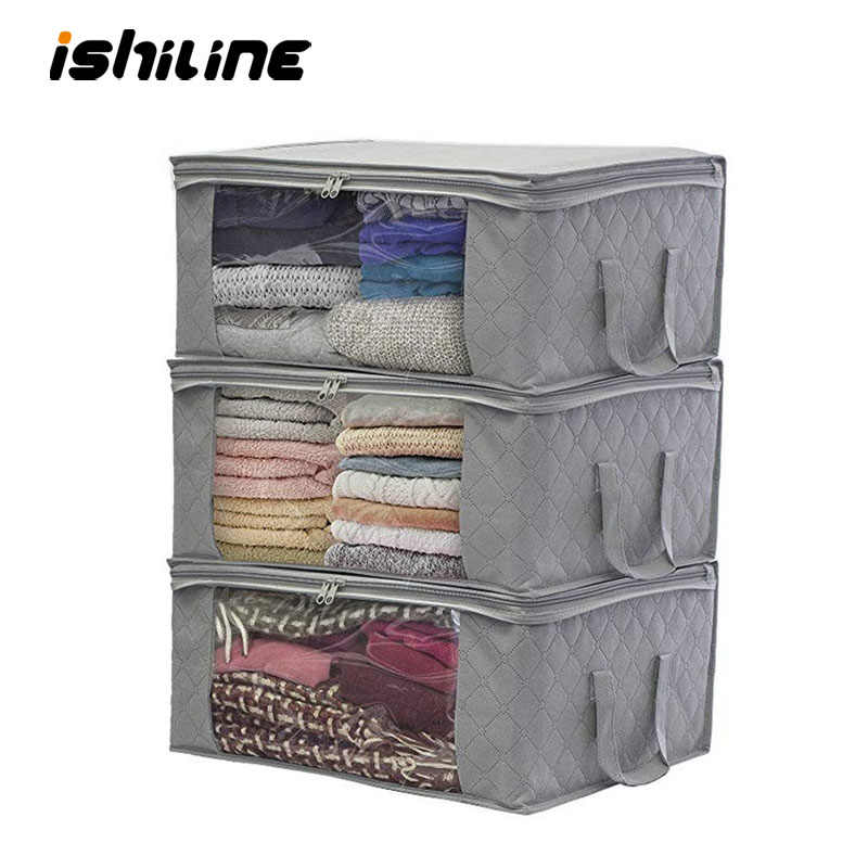1PC Non-Woven Folding Storage Box Home Visible Clothes Quilt Organizer wardrobe clothing finishing Case dust bag