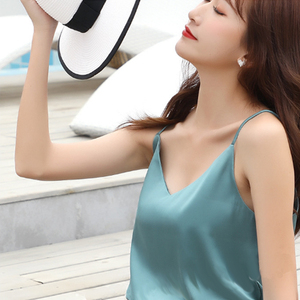 Image 3 - 2019 New Tank Top Women Sleeveless Top Sexy V neck Sling Vest Female Summer Wear Thin Section Loose Satin Silk Top Blouse
