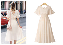 Plus Size Chiffon Dress Womens Flare sleeve Solid Color Summer V-neck  Large 2019
