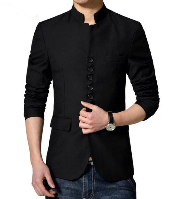 Chinese Tunic Suit Jackets Dense Button Design Mens Slim Fit Chinese Collar Blazer 2017 New Arrivals Wedding Coat Stage Outfit