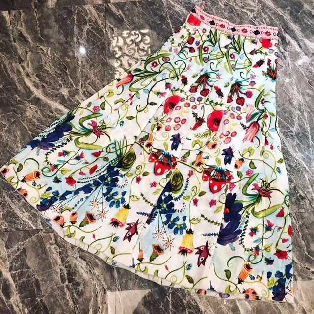 2018 woman flora printed colourful pleated ankle length skirt dress