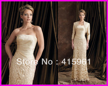Luxury Champagne Long Sleeve Jacket Lace Mother of the Bride Gowns Dresses M691