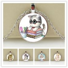 High Quality Girls Silver Plated Cute Cat Glass Pendant Necklace For Women Hot Sale Lovely Kids Cat Necklace Jewelry(China)