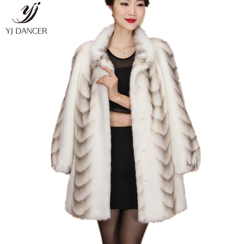 2018 de qualité Supérieure Réel De Fourrure De Vison Manteau Pour Femmes Chine Pleine Manches Épais Chaud Long Véritable Fourrure Naturelle Manteaux Plus taille H0228