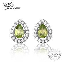 Jewelrypalace 0.9ct pera waterdrop forma natural peridot 925 pendientes de plata esterlina joyería fina de la manera de las mujeres pendientes