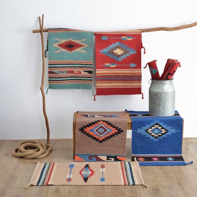 Kilim tapis carrés plancher l'artisanat de la fabrication de laine à la main coureur tapis chambre plancher décoration Navajo Tribal