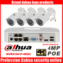Dahua mutil language 4CH 4K H.265 POE DHI-NVR4104-P-4KS2 IP security camera kit with IPC-HFW4421S 4MP bullet Waterproof camera