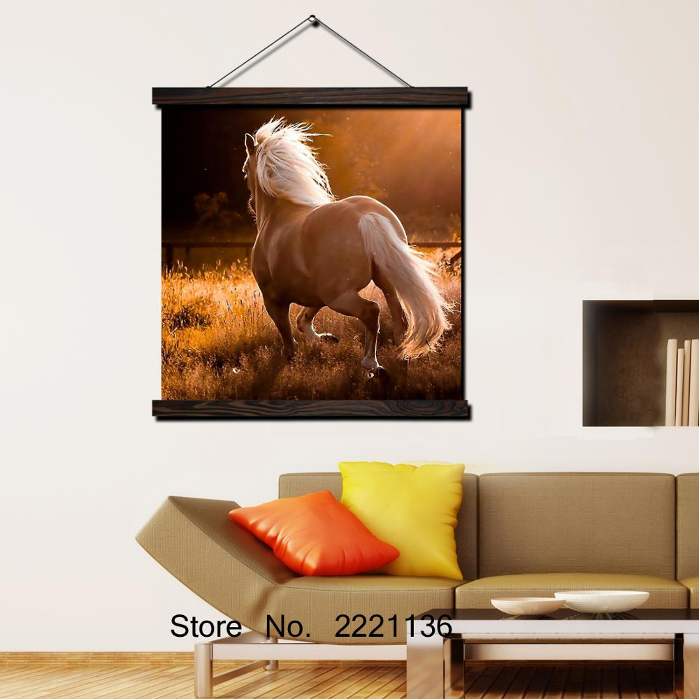 Sunset Running Horse HD Print Scroll Paintings Wall Art Printed Hanging Framed Canvas Painting Modern Home Decoration