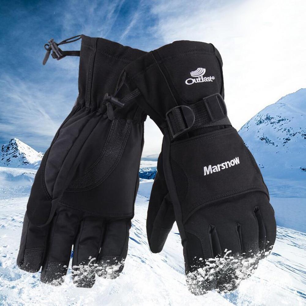 80c4edad7 Homens Inverno Engrossar Luvas de Esqui Quentes Impermeáveis À Prova de  Vento Luvas de Pulso Estendido Ciclismo Esqui Snowboard Luvas