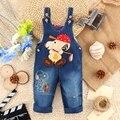 9 M-24 M Del Bebé Ropa Bebe Boy Overoles Kwaii Animales Perro Pantalones Largos de Dibujos Animados Mono Denim Jeans Ropa de los mamelucos Del Niño