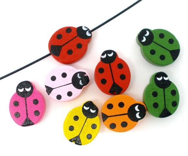 DoreenBeads 100 Mixed Painted Ladybug Wood Spacer Beads 19x15mm (B05606), yiwu