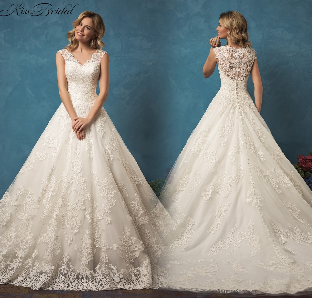 Vestido De Noiva 2017 New Elegant Lace Applique Tulle: Vestido De Noiva New Lace Wedding Dress 2017 V Neck Cap