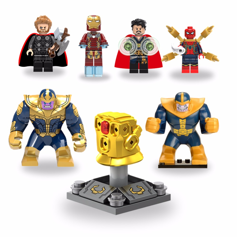 For legoing Marvel Super Heroes Avengers Infinity Gauntlet Thanos Iron Man Captain America Thor Builing Blocks Toys Figures avengers super hero mini weapons captain america shield iron man helmet thor hammer figures model toys with led light set page 9