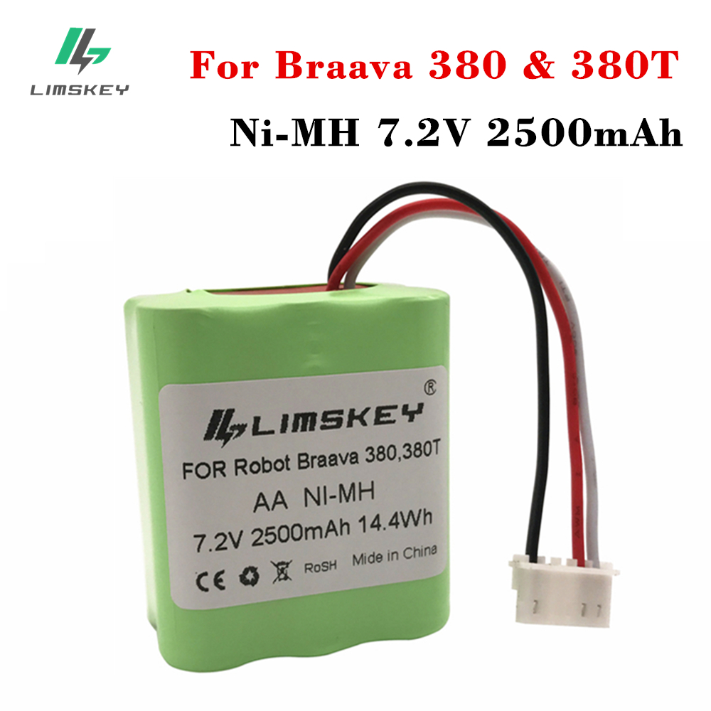 Limskey High Quality New 7.2V 2500mAh Vacuum Replacement Battery For IRobot Roomba Braava 380 & 380T
