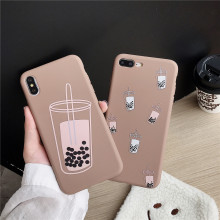 Get more info on the Milk Tea Pattern Silicone Case for Apple iPhone 6 8 Plus 6s 7 X Cover High Quality Bumper Line Wristband Shell Fitted Case