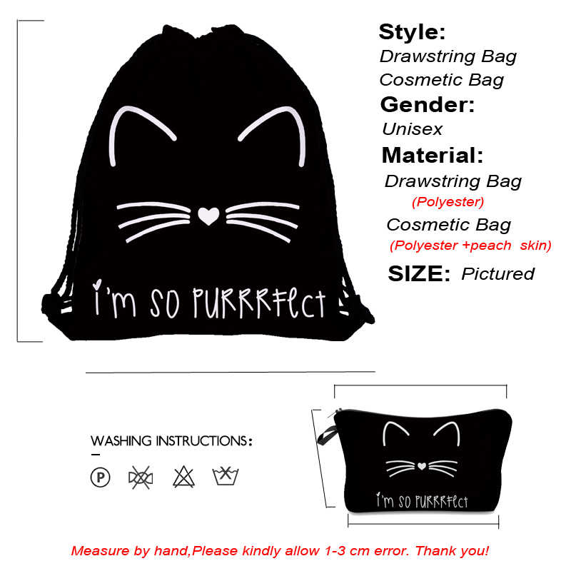 Jom Tokoy 2019 New fashion 2 PCS 3D Printing Women backpack Cute cat Drawstring bag Set Combination
