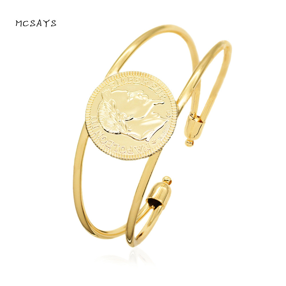MCSAYS Muslim Exquisite Bangles Islam Napoleon Coin Patriostism Grace Bracelet Middle Eatern Arabic Double Adjustable Bangle 4JB