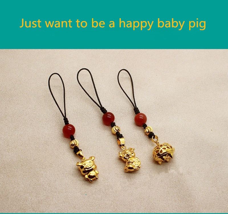 SUEF Cute baby pig pendant for mobile phone chain Removable cord accessories for iphone 6