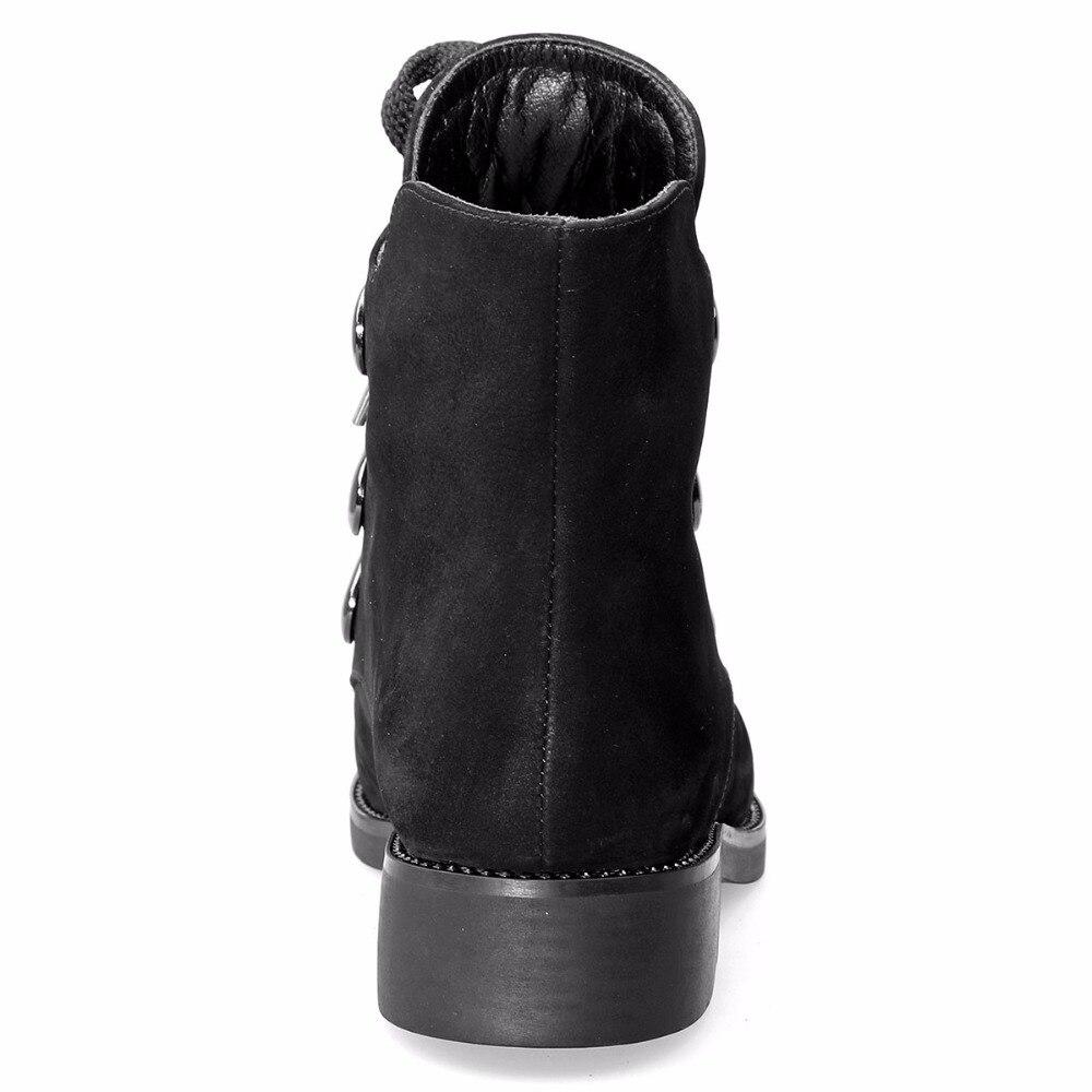 Mebi Caliente Mujeres Calzado Moda Negro Botas Invierno Nobuck Hebillas Felpa Cuero Botines Auténtico up Zapatos Encaje r6wfrWHCq0