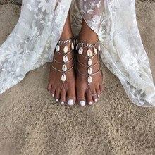 Nueva Bohemia playa larga vintage boho joyas pulsera tobillera tobillo pierna pie shell pulseras de cadena para las mujeres