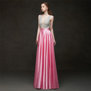 Image 4 - Erosebridal 2019 Evening Dress Long Party Dress Elegant Formal Dresses Evening Gown for Women Pink/Red/Black/Blue/Green/Yellow