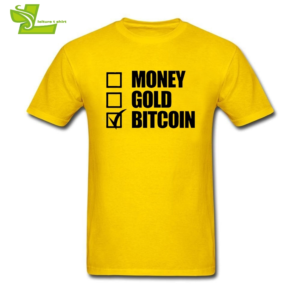 Men's Summer T Shirts Short Sleeve Money Gold Bitcoin Tick Box BTC Cryptocurrency T-Shirts Teenage O Collar Short Sleeve Tees - intl