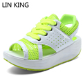 LIN KING Women Beach Sandals Casual Patchwork PU Air Mesh Platform Swing Shoes Lace Up Wedge Heels Slimming Elevator Shoes