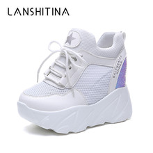 2019 Women's Casual Shoes Mesh Breathable Platform Wedge Heels Shoes 10CM Summer Mesh Sneakers White Shoes Zapatillas Deportivas
