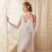 Lace Robe Woman Robe Bride Bridesmaid Dressing Gown Long Sexy Bathrobe Pink White