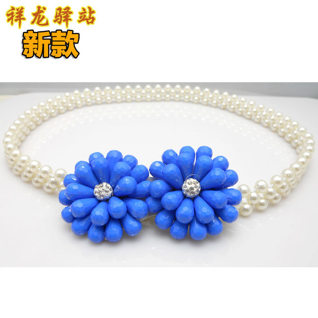 Lady Dress Belt  New Sweet Flowers All-match Pearl Waist Chain Beaded Elastic Waistband Decorative Waistband All Match B-3556
