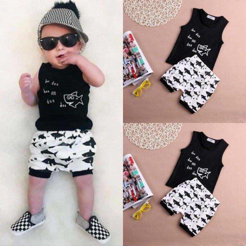 2017-new-hot-summer-cartoon-printing-shark-baby-clothing-set-fashion-hot-sleeveless-T-shirt-and-high-waisted-shorts-for-summer-1