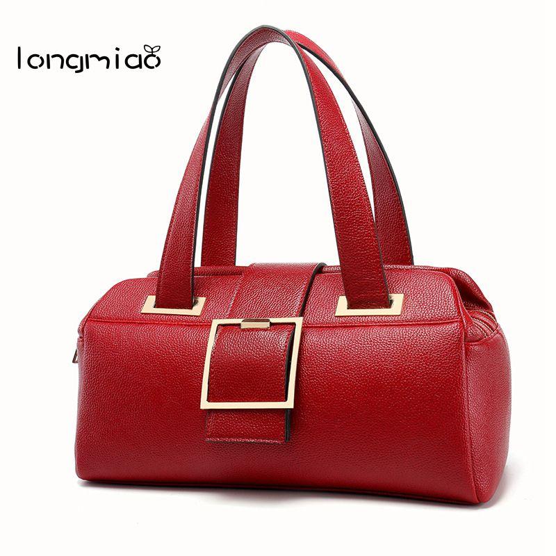 Longmiao Brand Litchi Leather Handbag For Women Design Boston Bag Top Handle Female High Grade Shoulder