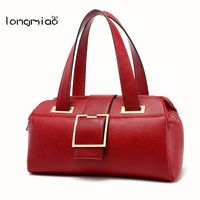 Longmiao Brand Litchi Leather Handbag For Women Design Boston Bag Top Handle Female High Grade Shoulder