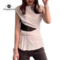 Модная футболка без рукавов для женщин, сексуальные кружевные летние топы, белые женские футболки, женская футболка