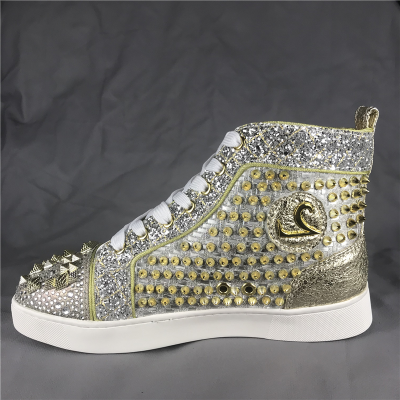 Hombre Spike Gold Fashion Shoes Sneakers High-top Flat Red bottom - Zapatos de hombre - foto 2